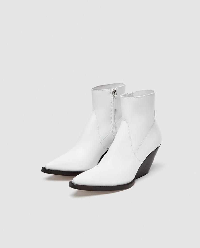 online shop online here cost charm Zara Leather Cowboy Ankle Boots   Zara Sale Summer 2018 ...