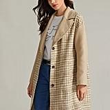 Shein Premium Notched Collar Slant Pocket Plaid Coat