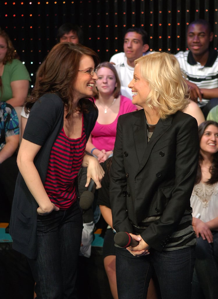 Tina and Amy laughed while visiting MTV's TRL in April 2008.