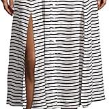 Nanette Lepore Button Stripe Midi Skirt