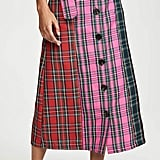 English Factory Colorblock Tartan Skirt