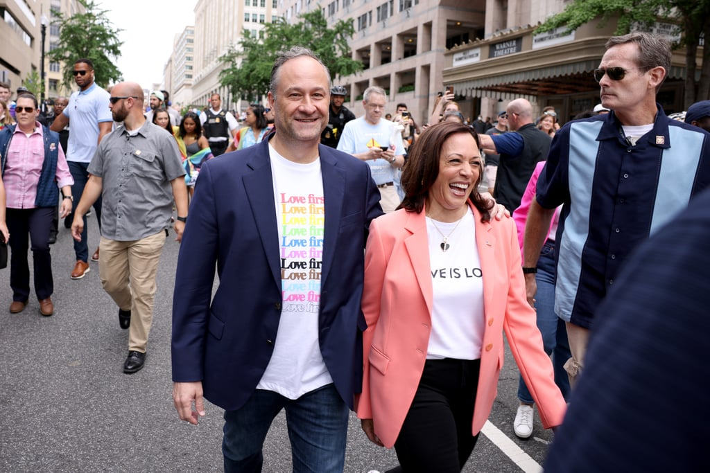 """Vice President Kamala Harris typically sticks to suits and pearls for her official events, but on June 12, the politician opted for a more casual outfit as she made her way to Washington DC's Pride Month parade with husband Doug Emhoff. Her appearance was a historic one, as the first sitting VP to march in such an event.  Kamala chose a bright coral Prabal Gurung blazer for the momentous occasion, dressing down in black jeans and her signature Converse sneakers. Both she and Doug opted for graphic T-shirts that sent messages of love to the LGBTQ+ community: hers read """"Love Is Love"""" and Doug's featured the message """"Love first"""" in a rainbow of colors. Even their Secret Service agents shed their suits for the event, and instead, caught the attention of onlookers with their casual wear. Fun fashion emerges at Pride, after all! Get another glimpse of the looks America's second couple wore in celebration of the event in the photos ahead.       Related:                                                                                                           Doug Emhoff and Kamala Harris Celebrate Ella's Graduation: """"We Are Such Proud Parents"""""""
