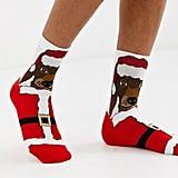 ASOS Design Holidays Sausage Dog in Santa Outfit Ankle Socks