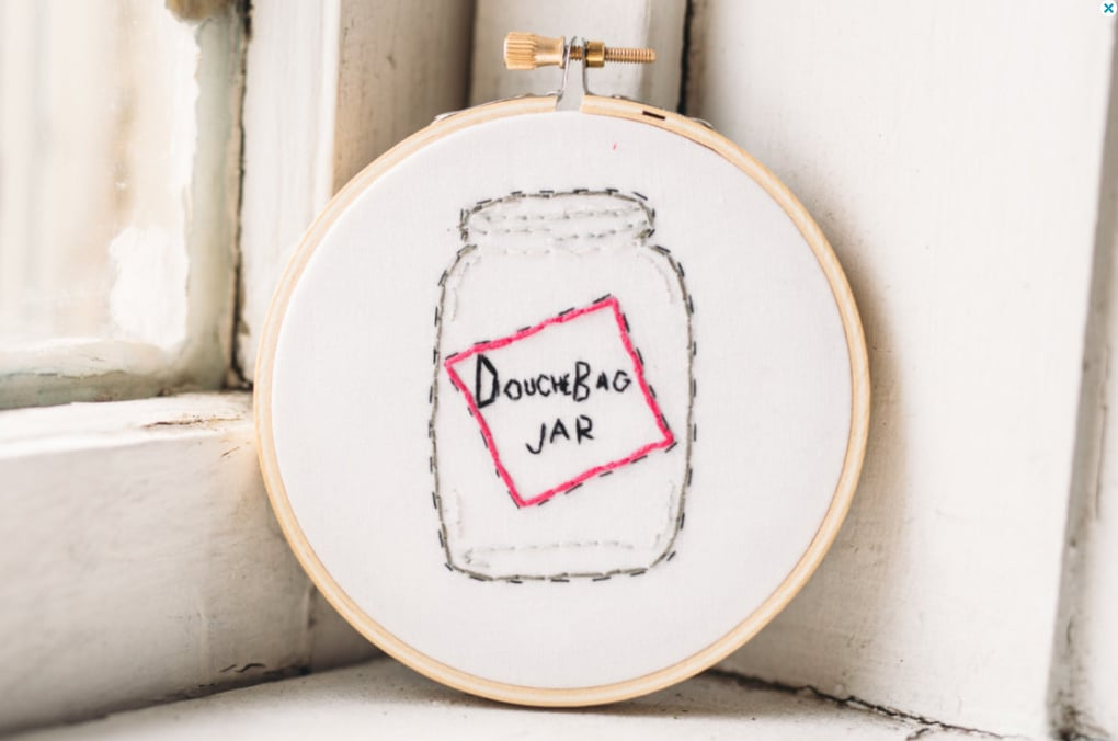 Douchebag Embroidery Hoop Art ($28)