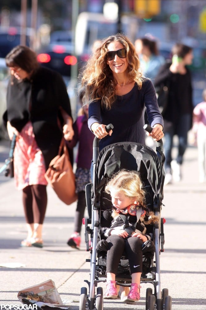 Sarah Jessica Parker was all smiles as she pushed Tabitha Broderick in a stroller.
