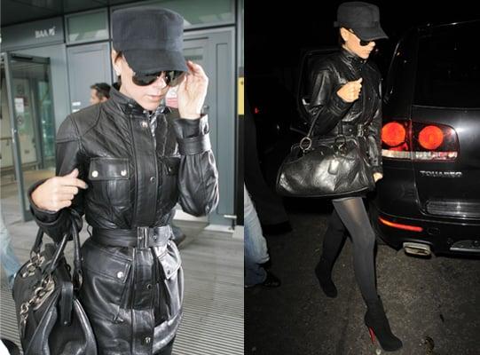 Victoria Beckham Black Handbag, Celebrity Style, Belstaff Jacket