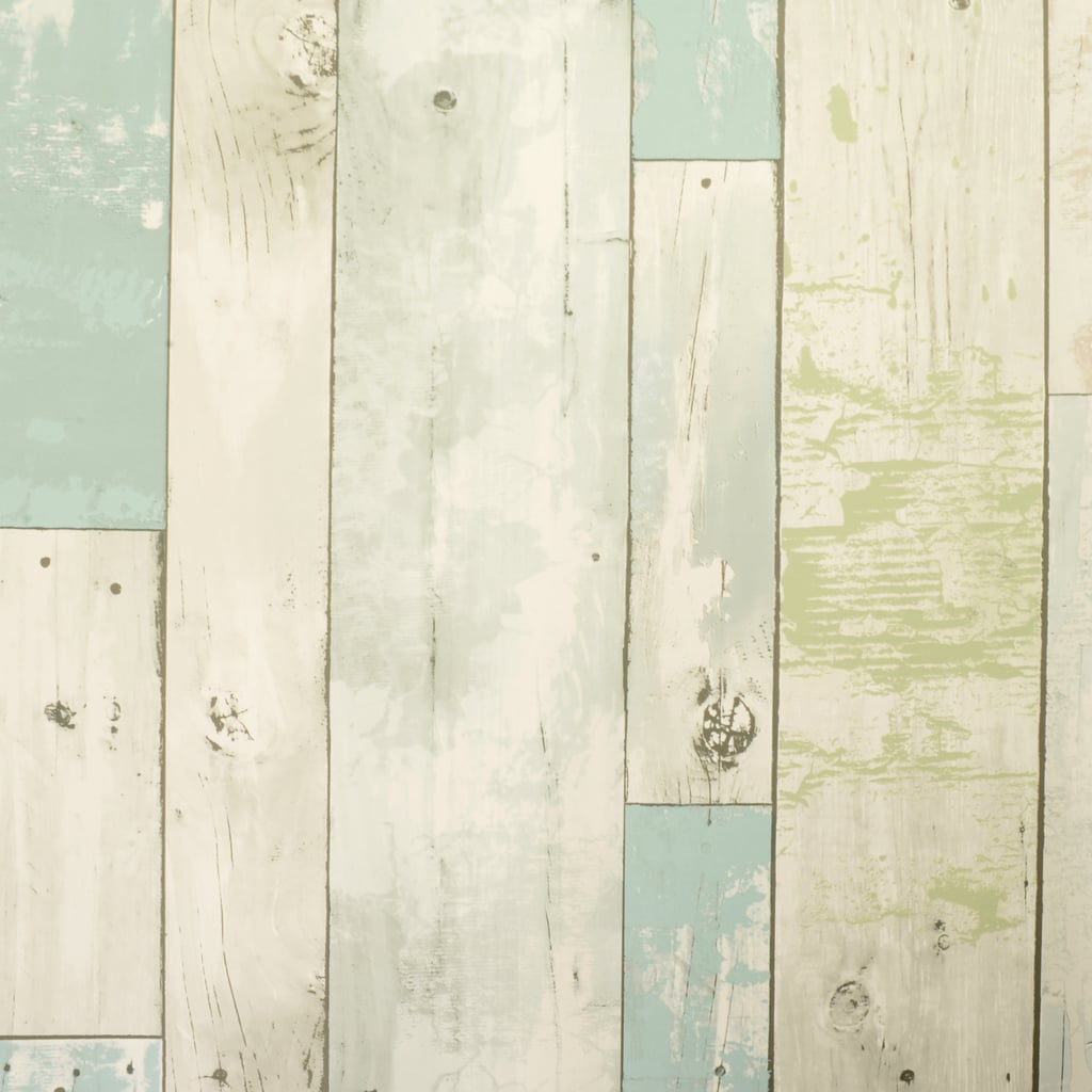 The Nicole Curtis Home removable wallpaper collection also comes in a beachwood print.