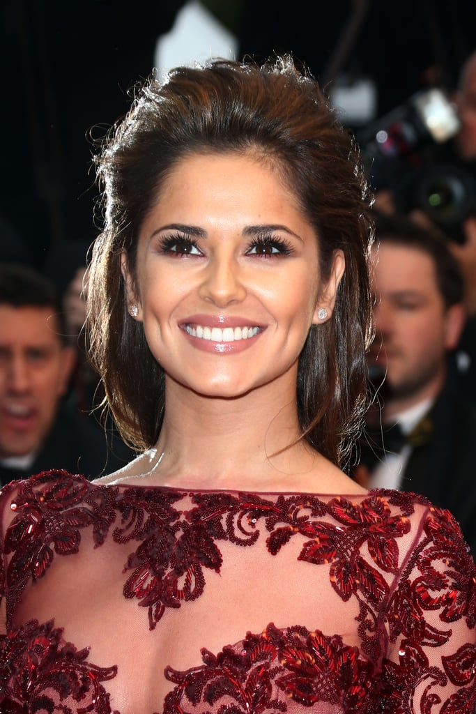 Cheryl Cole wore a touch of colored liner underneath her eyes to complement her oxblood gown at Jimmy P. (Psychotherapy of a Plains Indian).