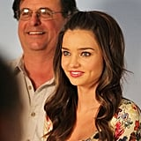 Miranda Kerr smiled at a press event.