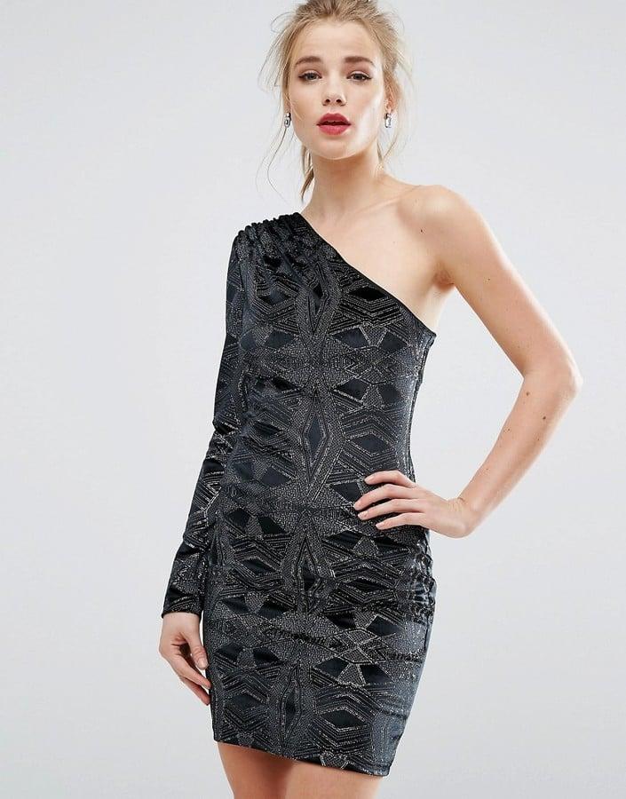 fed8efb0dbf2 New Look One Shoulder Glitter Velvet Bodycon Dress | Best Velvet ...