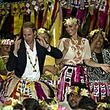 Kate Middleton smiled big at Prince William's dance moves in Tuvalu in September 2012.