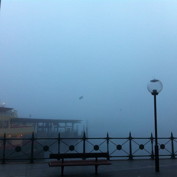 Missing: one Sydney Harbour Bridge. Our view at work was considerably lessened by the Sydney fog during the week.