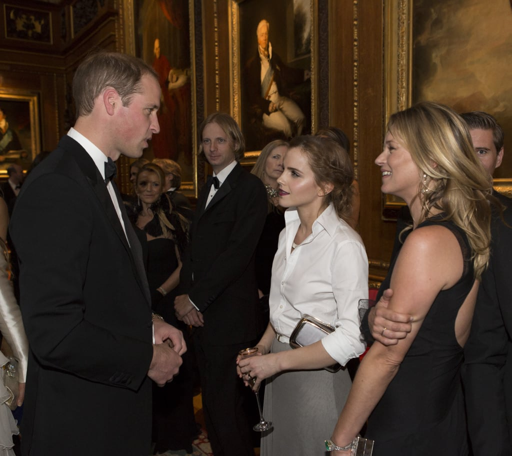 The Duke of Cambridge hosted a star-studded charity dinner for the Royal Marsden Cancer Charity on Tuesday, bringing famous faces together at England's Windsor Castle. Prince William was joined by several celebrities like Emma Watson, Cate Blanchett, Benedict Cumberbatch, Kate Moss, and Margot Robbie, who all gathered to raise awareness for the cause. Ahead of the night's festivities, Queen Elizabeth II gave special permission to use the state rooms. Along with actors, models, and designers, former patients and supporters of the Royal Marsden hospital also attended the event. It's a cause close to Prince William's heart, as he's been president of the Royal Marsden since 2007, following in the footsteps of his mother, Princess Diana. See all best snaps from the celebrity-filled fete below.