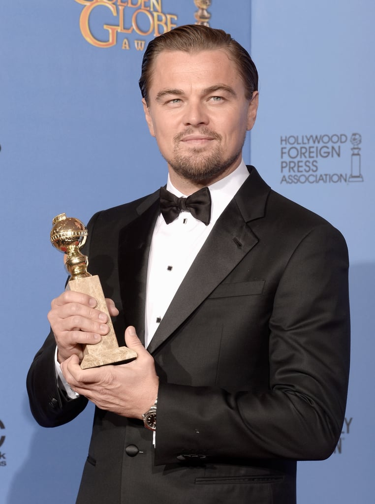 Leo showed off his statue in the press room.