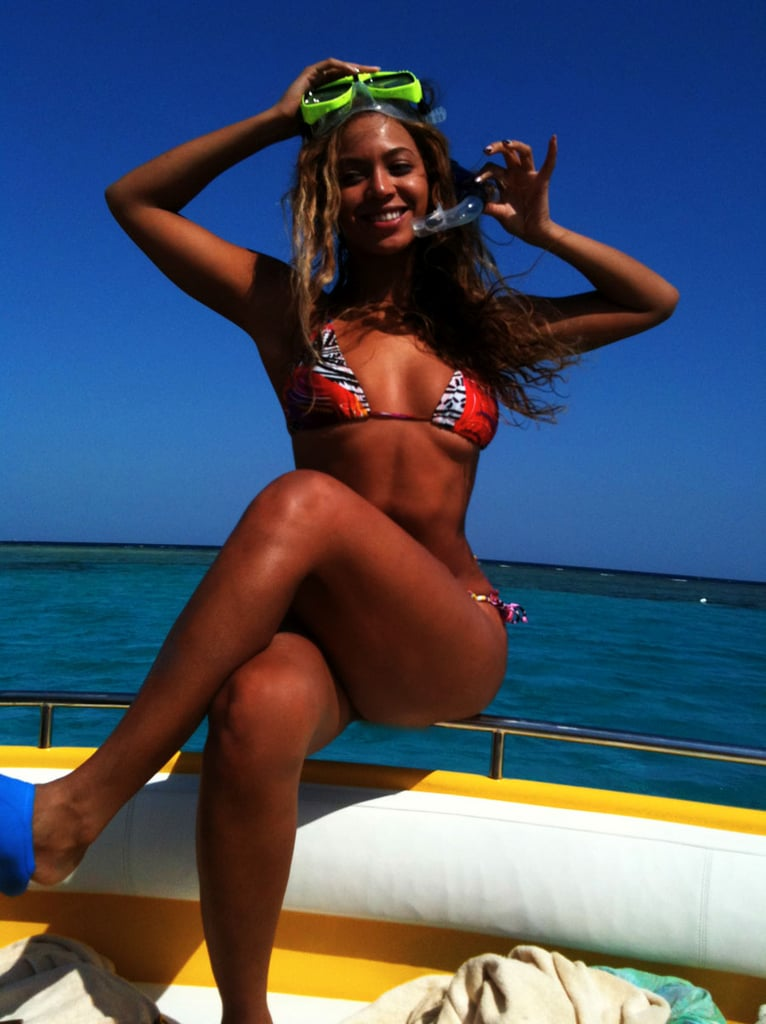 Beyoncé Knowles rocked a bikini to snorkel.