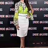 Selena Gomez wore a bright top at the Spring Breakers photocall in Madrid.
