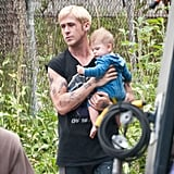 Ryan Gosling held his small costar close filming The Place Beyond the Pines.