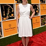 Jennifer Morrison kept it simple with a ladylike white frock and black sandals — her bold red lipstick was the statement accent of her daytime attire.