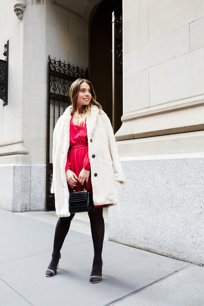 Affordable & Festive Outfit Formula: Minidress + Faux-Fur Coat + Heels + Tights + Mini Bag + Jewelry
