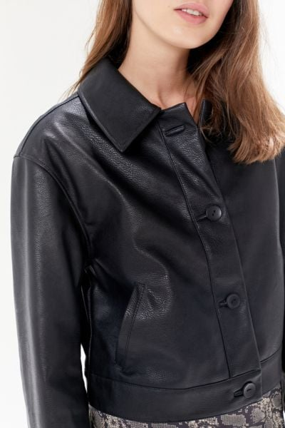 UO Faux Leather Button-Front Jacket