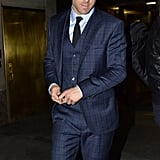 Ryan Reynolds looked dapper in a navy blue suit in NYC.