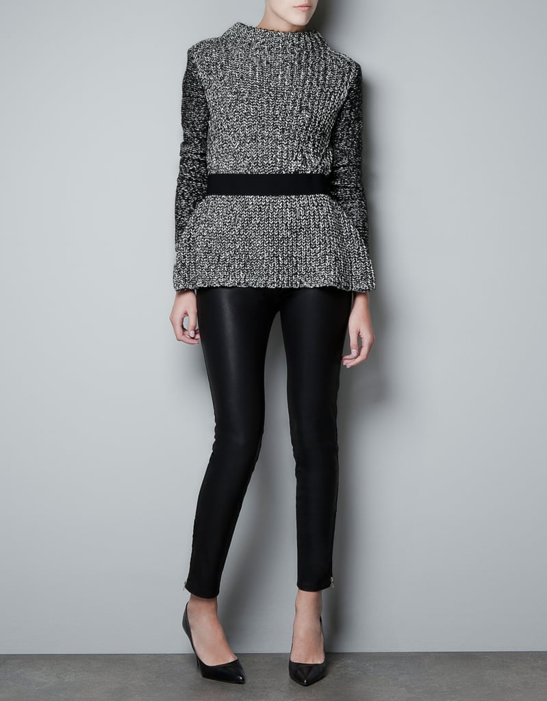 We love how this Zara Twist-Knit Frilled Jumper ($80) cinches in at the waist and creates curves — style it with skinny leather leggings and pumps or boots.