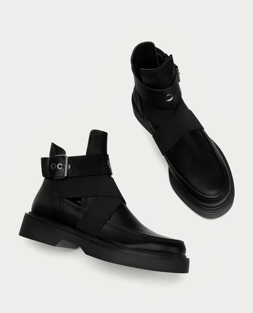 Zara Leather Ankle Boots With Openings