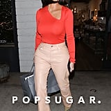 Kim Kardashian Wearing Peach Leather Pants in LA