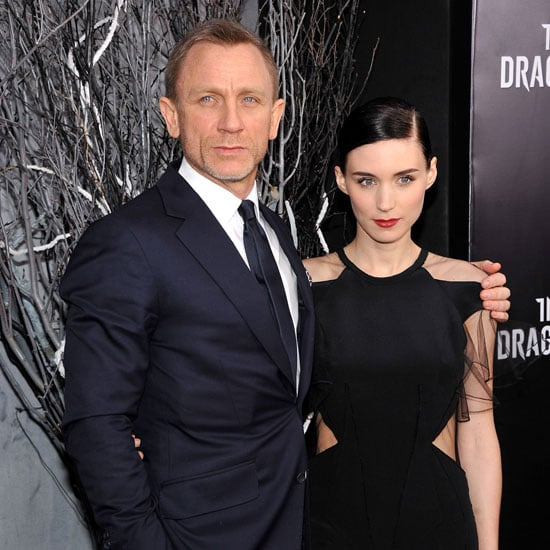 Rooney Mara Black Prabal Gurung Dress with Daniel Craig at The Girl With the Dragon Tattoo NYC Premiere