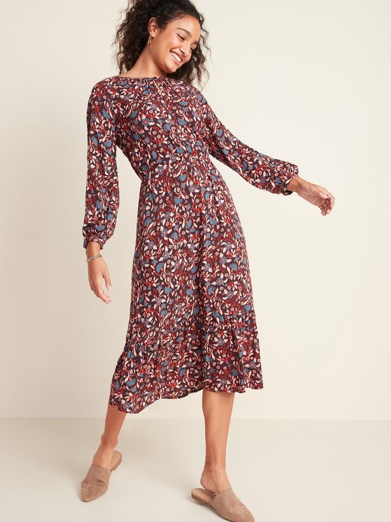 Floral-Print Waist-Defined Midi Dress