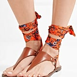Amazing ankle-wrap flat sandals like Sam Edelman's Giliana Leather and Printed Satin Sandals — Tan ($90).