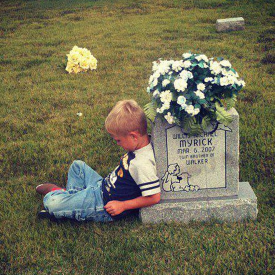 Boy Visiting His Twin's Grave to Talk About Kindergarten