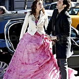 Leighton Meester and Penn Badgley filming Gossip Girl.