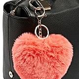 Faux Fur Heart Plush Keychain