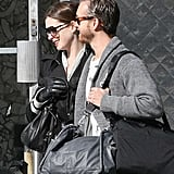 Adam Shulman and Anne Hathaway had a laugh in NYC.