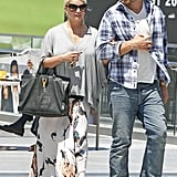 Jessica Simpson wore a maxi skirt for her day date.