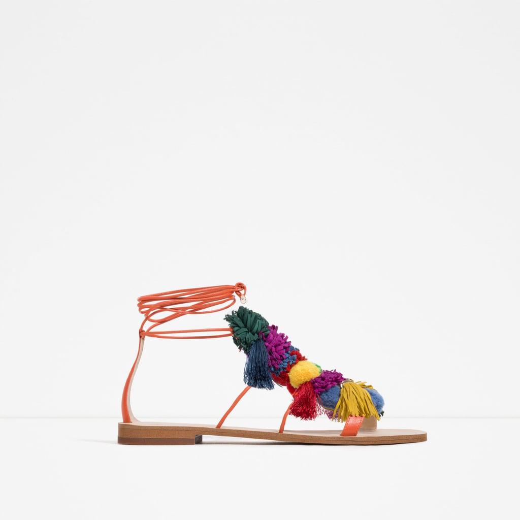 Zara Pom Pom Leather Sandals ($90)
