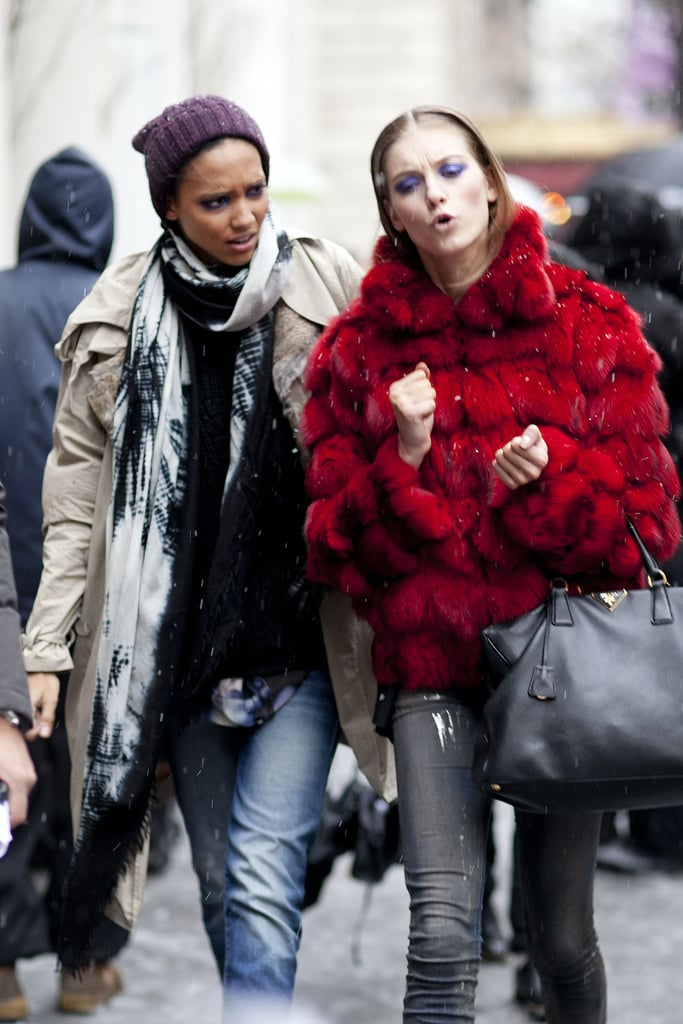 This duo made staying warm look effortless in a beanie and anorak and a bright red fur, respectively.