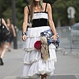 Anna Dello Russo proved that when it comes to skirts, the more tiers the better.