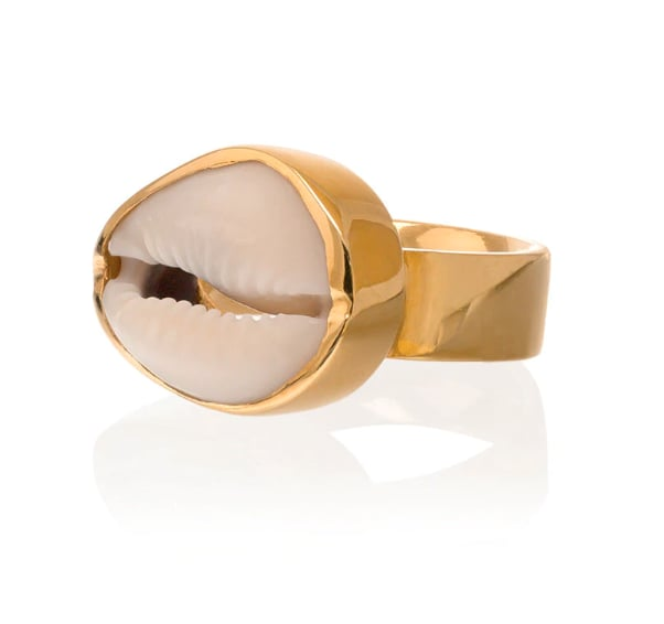 Tohum Gold-Plated Large Puka Natural Shell Ring