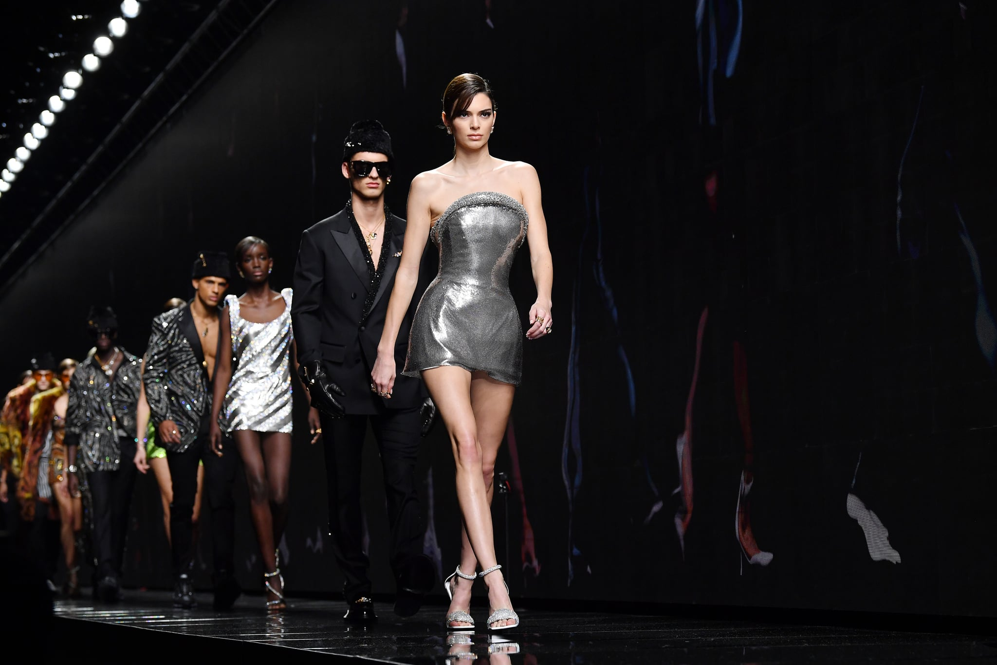 MILAN, ITALY - FEBRUARY 21: Kendall Jenner and models walk the runway during the Versace fashion show as part of Milan Fashion Week Fall/Winter 2020-2021 on February 21, 2020 in Milan, Italy. (Photo by Jacopo Raule/WireImage)
