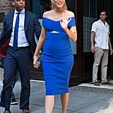 Blake Wore a Tight Blue Cushnie et Ochs Dress, Which Featured a Cutout in the Middle