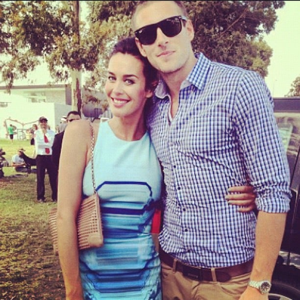 Megan Gale cuddled up to her partner, AFL player Shawn Hampson. Source: Instagram user megankgale