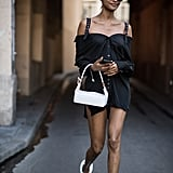 Jourdan Dunn Arrived at the Off-White Show in a Black Off-the-Shoulder Dress