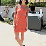 Rosanna Munter of K.I.D.S showed off her Coachella party style in an orange body-con dress and wedge sandals. Source: Chi Diem Chau