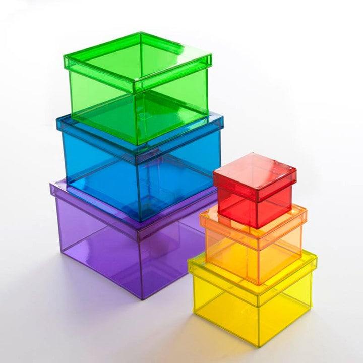 Translucent Rainbow Storage Cubes Set ($57)
