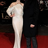 Anne Hathaway and Hugh Jackman posed for photos at the London premiere of Les Misérables.