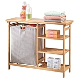 mDesign Bamboo Wood Laundry Station