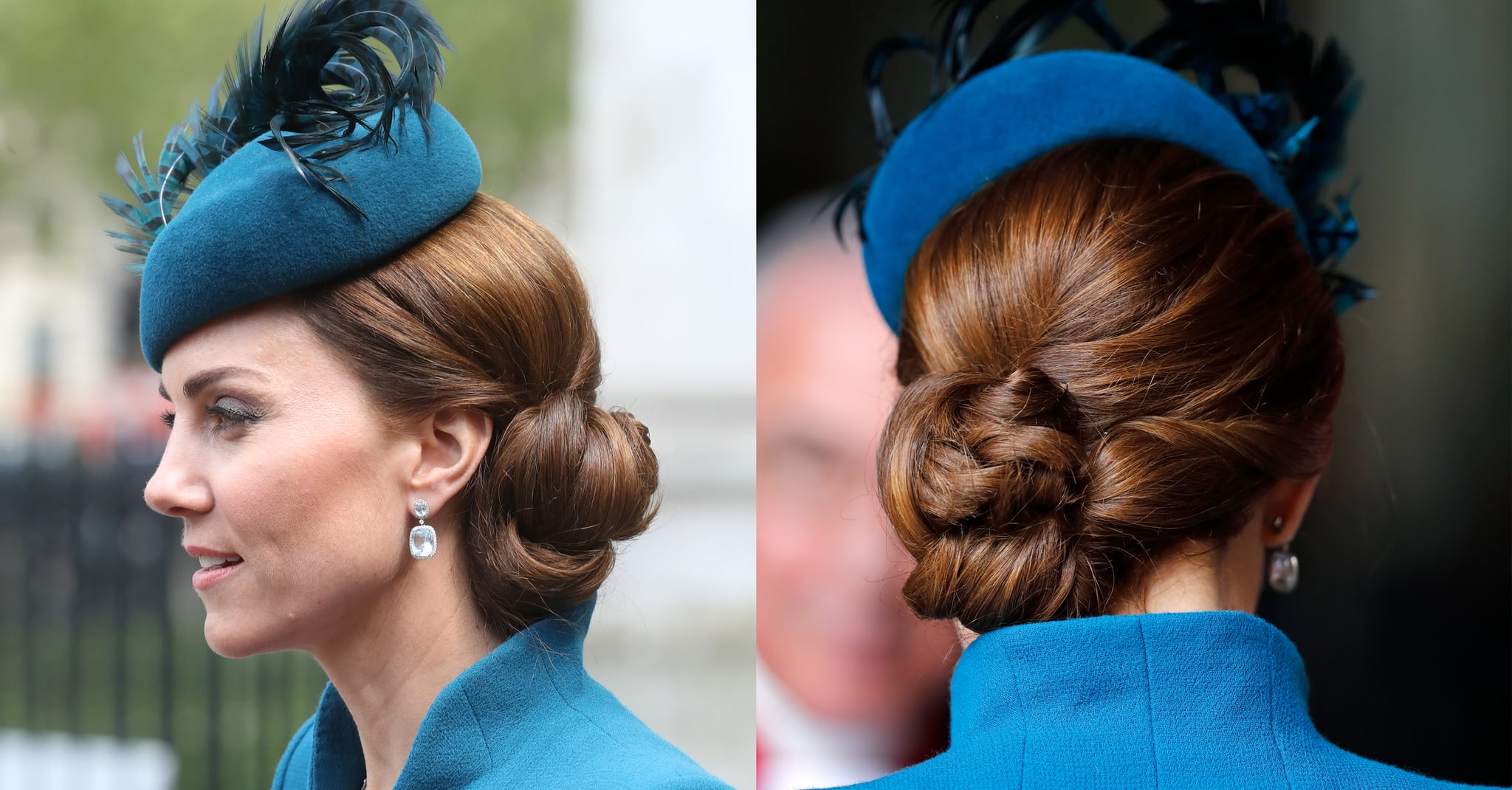 Kate Middleton S Complicated Side Chignon 2019 Kate Middleton S 60 Best Hairstyles Over The Years Popsugar Beauty Photo 25