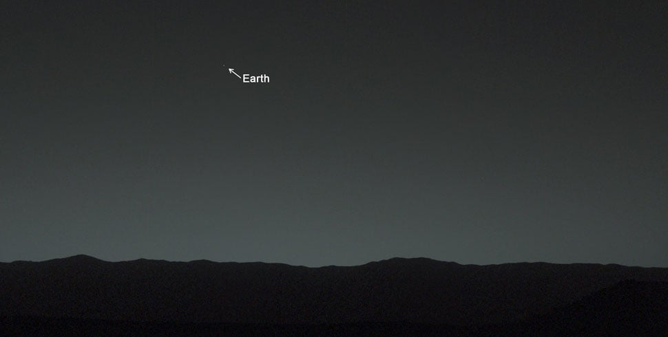 Earth looks teeny tiny in this picture taken from Mars by the Curiosity rover in February 2014.  Source: NASA/JPL-Caltech/MSSS/TAMU